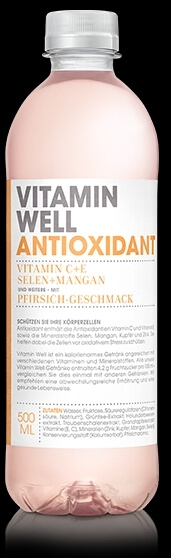VITAMIN WELL Antioxidant 12 x 500ml, Pfirsich